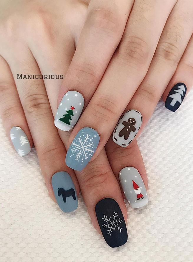 christmas nail art , winter nail art , winter nails , christmas nails  #christmasnails