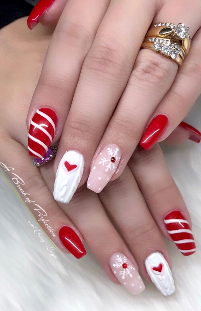 christmas nail ideas, white silver red winter nail art, winter nail art designs #winternails #christmasnail