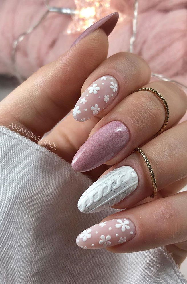winter pink nail art , winter nail art , snowflake nail art