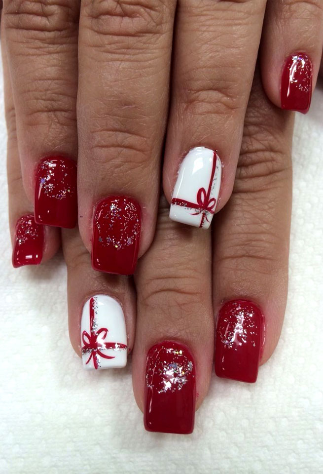 red winter nails, christmas nail , nail art #winternails