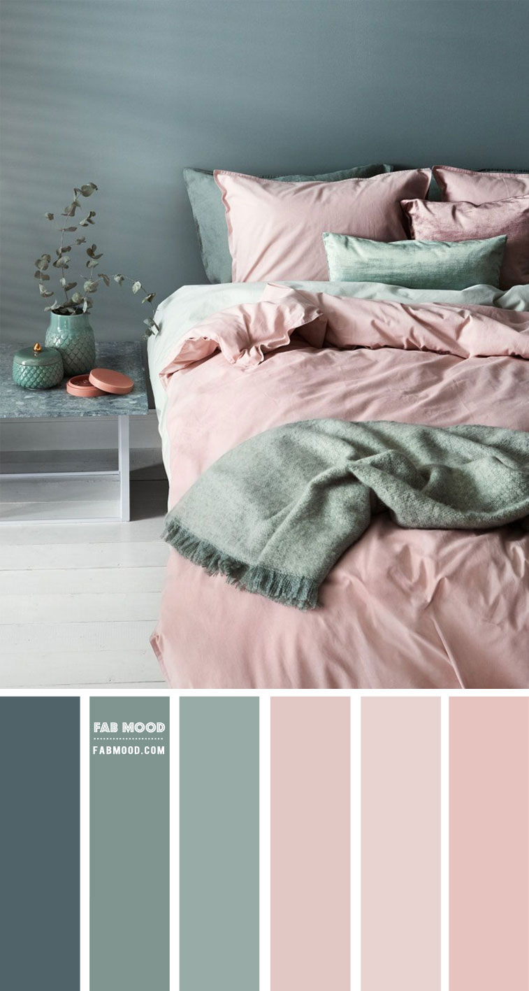 Green Sage and Mauve Pink Bedroom Color Palette