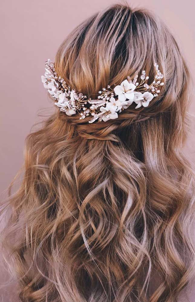 half up half down hairstyles, partial updo hairstyle , half up half down hairstyles wedding, fab mood, braid half up half down hairstyles , bridal hair , boho hairstyle #hair #hairstyles #braids #halfuphalfdown half up hairstyles for medium length hair, pretty half up half down hairstyles