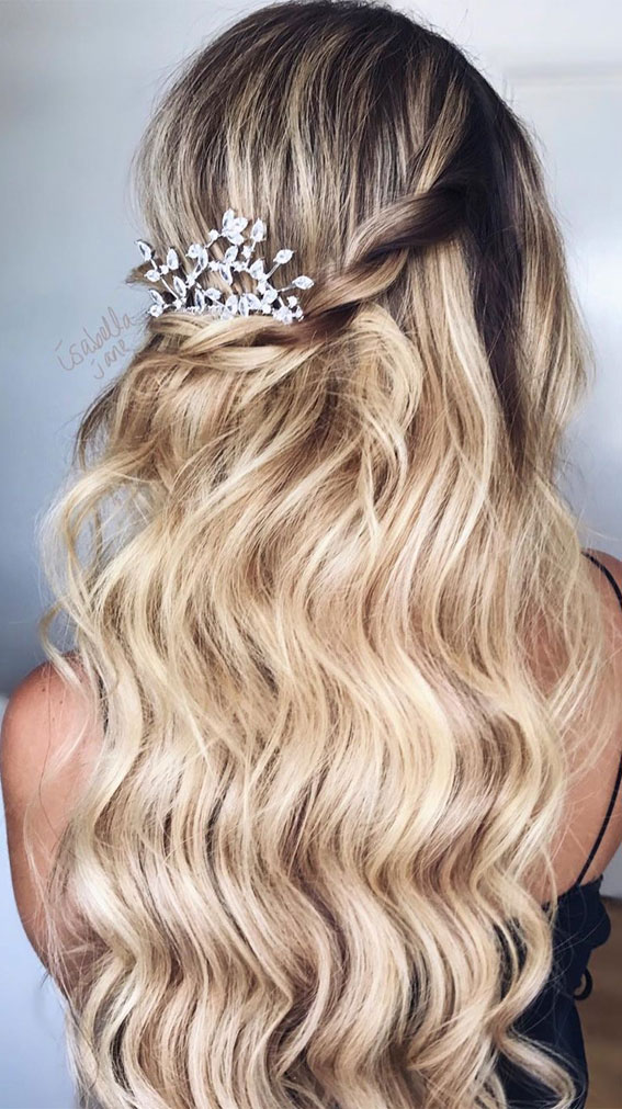 textured half up, prom hairstyle ideas, half up half down hairstyle, casual half up half down hairstyles, wedding hairstyles, half up hairstyles , trendy half up half down hairstyles, half up half down for wedding , prom hairstyles #halfuphairstyle