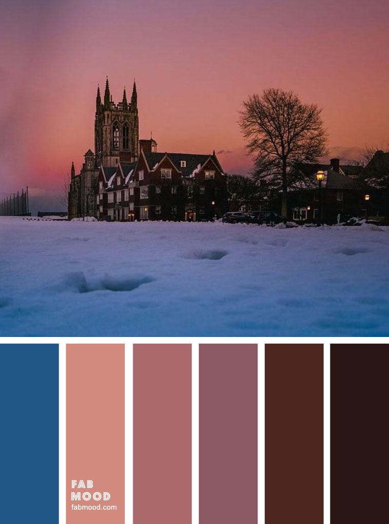 Winter Mood Palette : Pink Peach Sunset + Blue