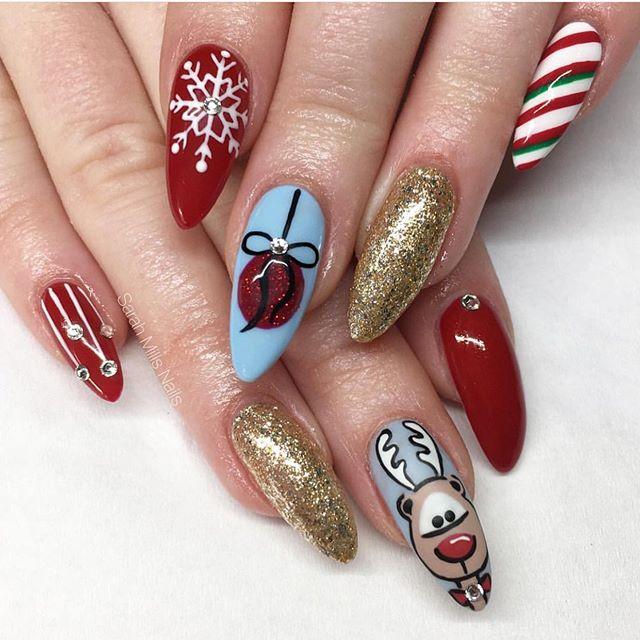 christmas nail art designs #christmasnails christmas nails, red gold christmas nails