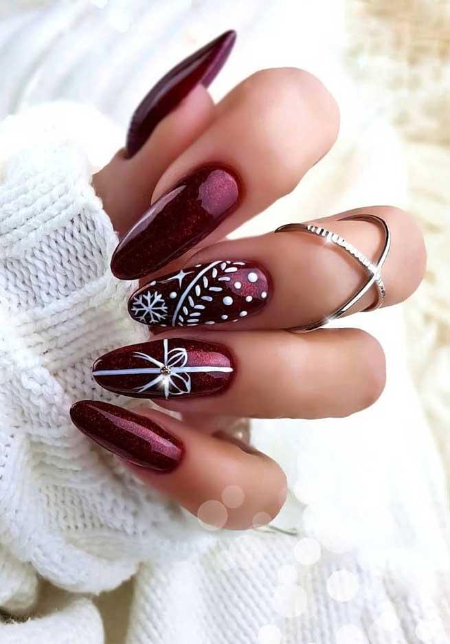 57 Festive Christmas Nail Art Ideas Burgundy Christmas Nails Best Acrylic Nails Ombre Nails Nail Art Designs Lipsticks