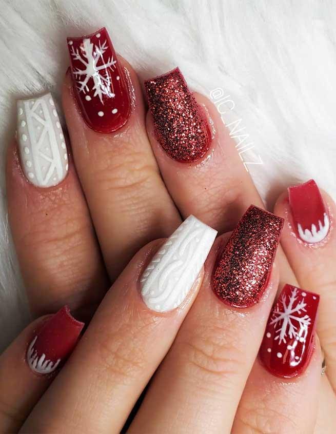 red nails , winter nails , festive nail art, christmas nails, festive nails #festivenails