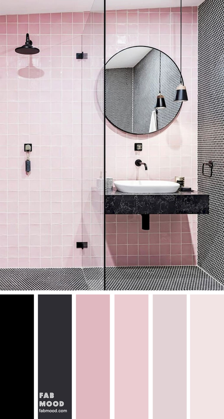 8 Beautiful Color Schemes For Bathroom Color Ideas – Black & Pink