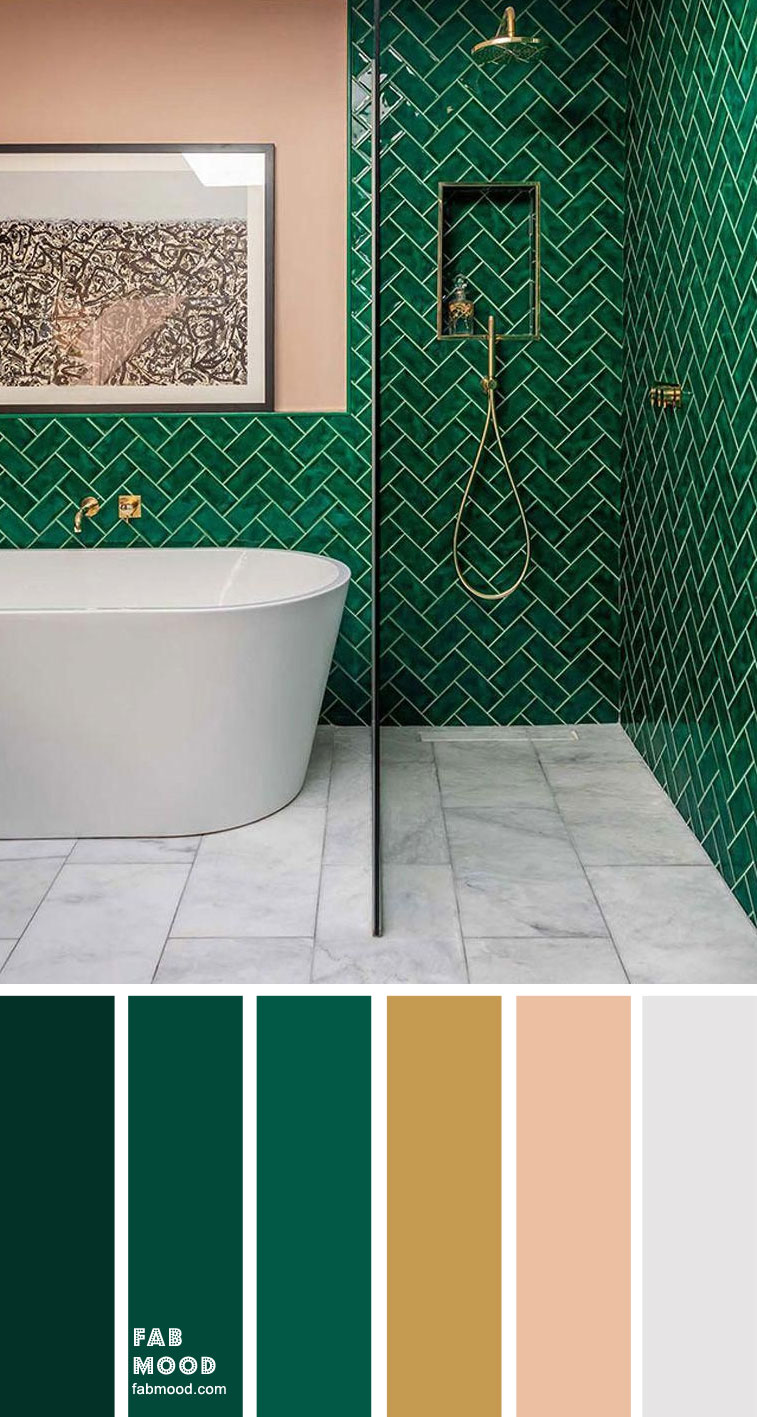 8 Beautiful Color Schemes For Bathroom Color Ideas – Green Emerald, Gold, Grey