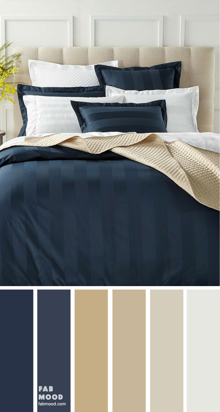 Beige, Dark blue and Grey Color Scheme for Bedroom