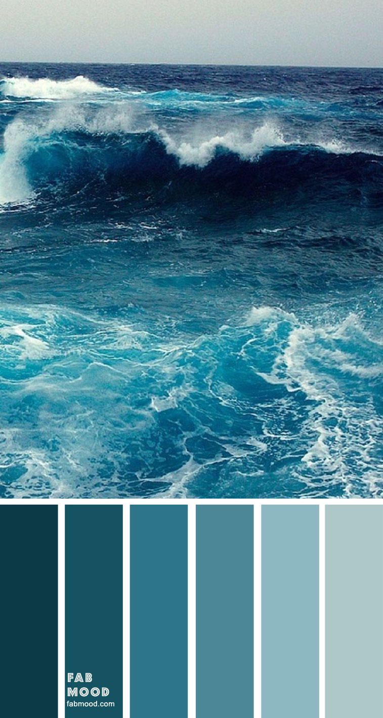 shades of green sea color palette, color scheme, color ideas, deep green sea, turquoise, teal color, teal color plaette #colors #teal