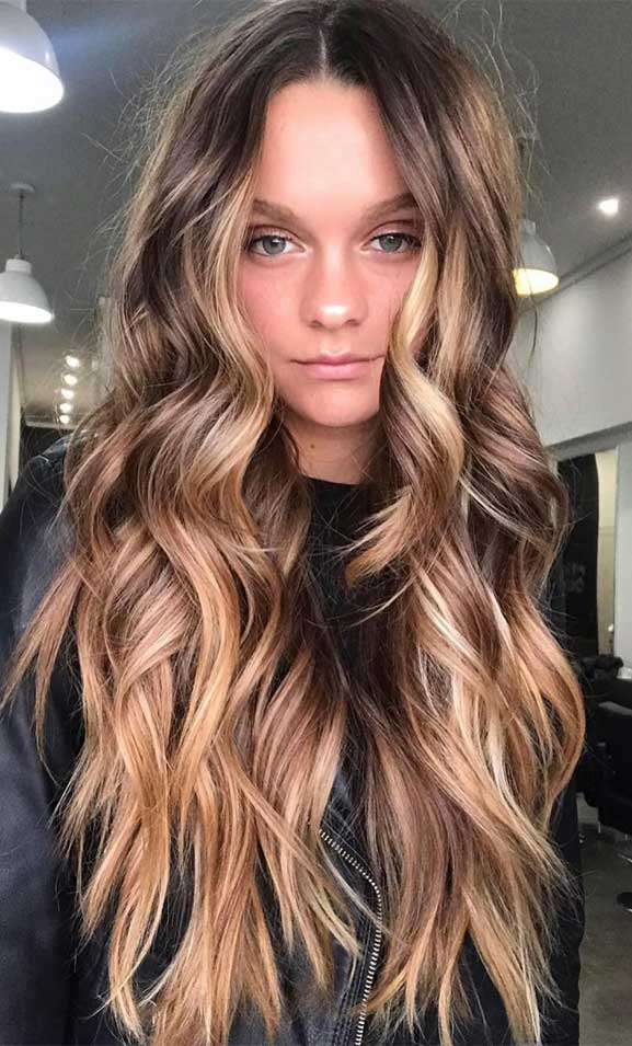 brown chocolate hair color, brown hair color, balayage hair blonde, subtle blonde balayage, blonde balayage on dark hair, light blonde balayage, warm brown balayage, brown hair color ideas, light brown hair color #brownhair #balayagehairblonde hair color ideas, hair color trends 2020