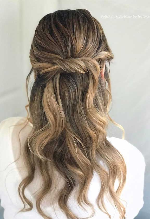 half up half down hairstyles, partial updo hairstyle , half up half down hairstyles wedding, wedding half up half down hairstyles , bridal hair , boho hairstyle #hair #weddinghairstyles #halfuphalfdown half up hairstyles for medium length hair , wedding hairstyles