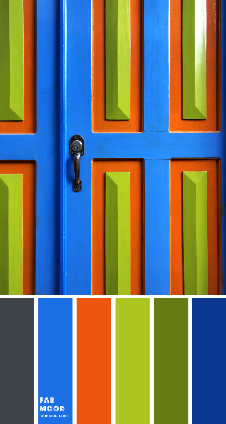 Chartreuse, bright blue , burnt orange , Metal and Cobalt blue
