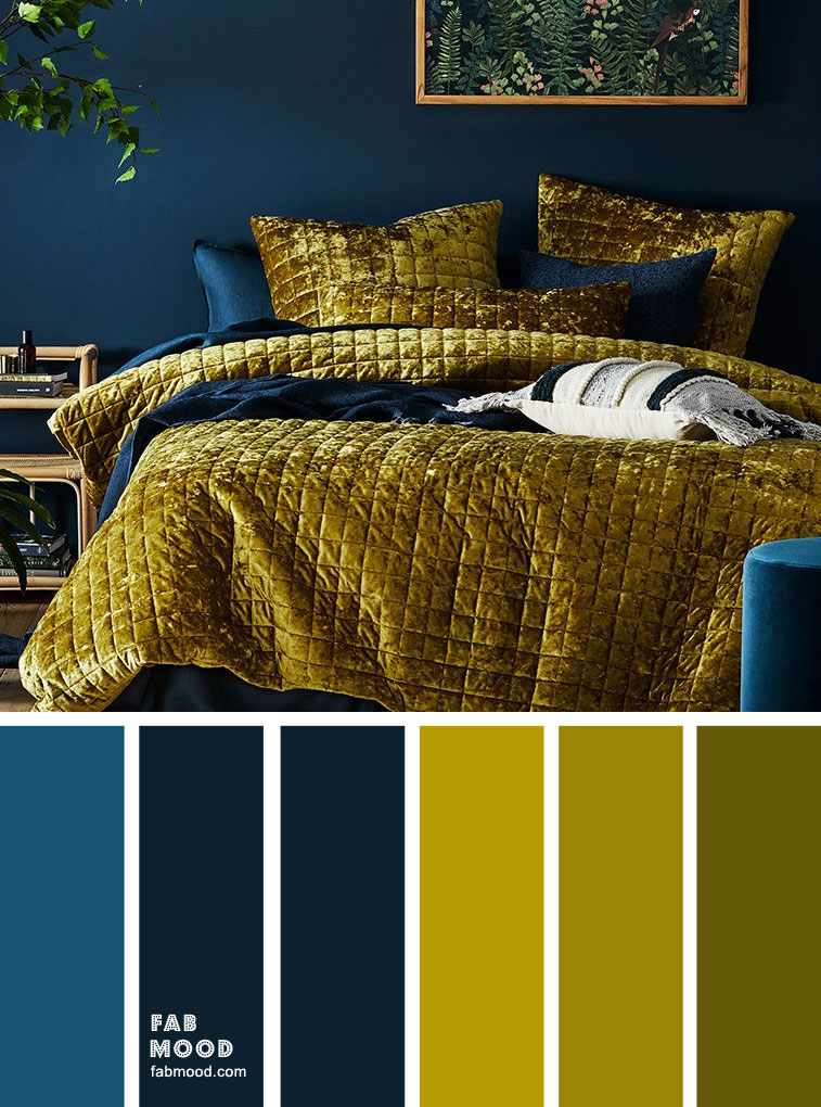 Chartreuse and Dark Blue Bedroom