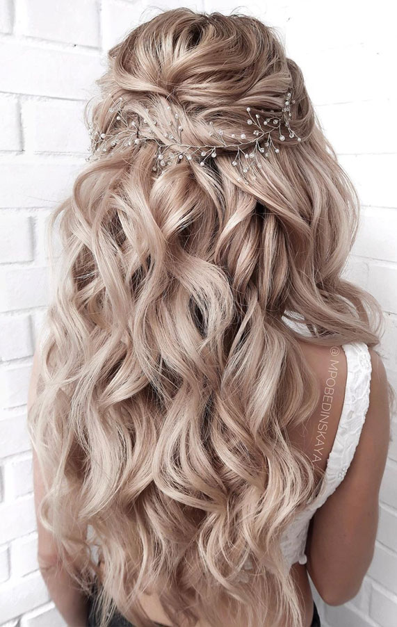half up half down hairstyles, partial updo hairstyle , half up half down hairstyles wedding, fab mood, braid half up half down hairstyles , bridal hair , boho hairstyle #hair #weddinghairstyles #halfuphalfdown half up hairstyles for medium length hair, half up, hairstyle, hair, half up dos, half up hairstyle