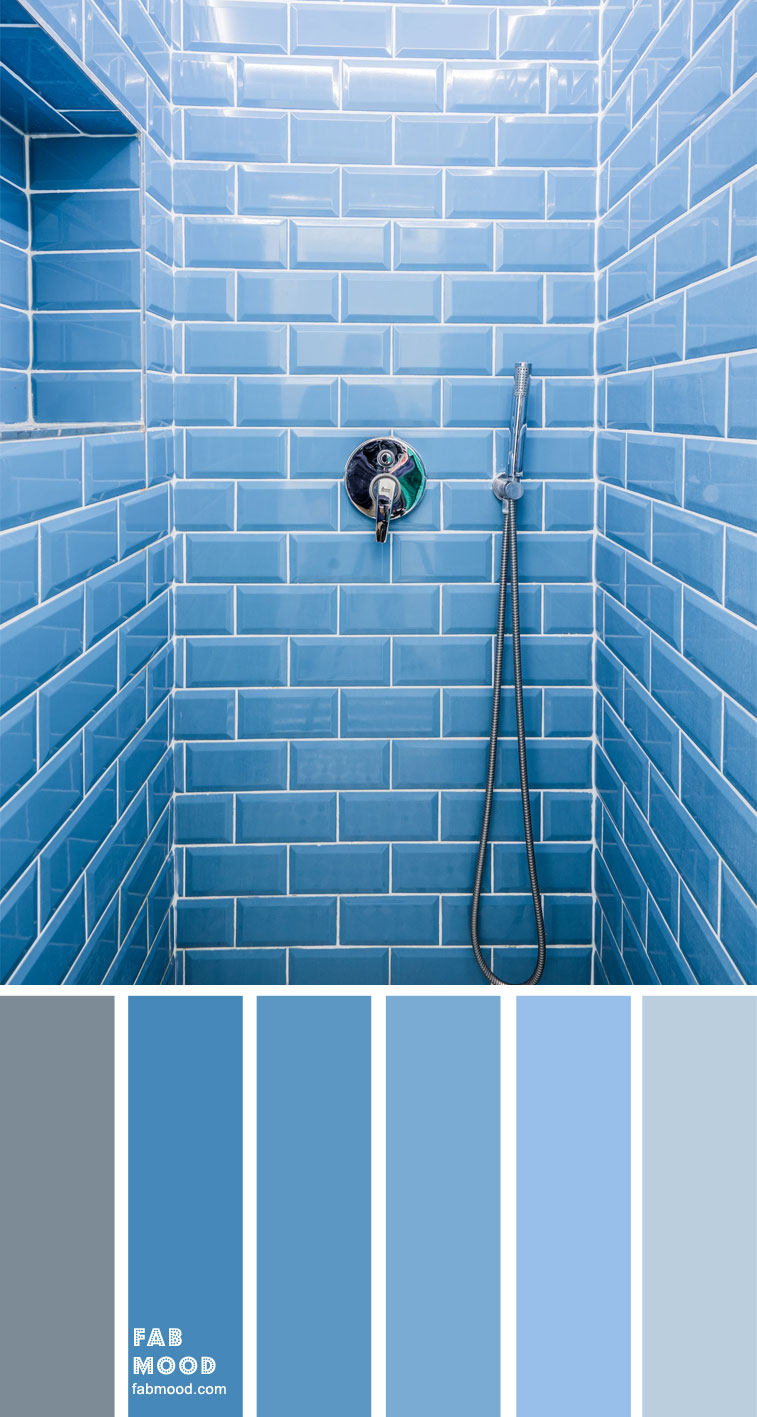 blue bathroom, blue shower room #bluetiles #blueshoweroom color palette for bathroom , color palette