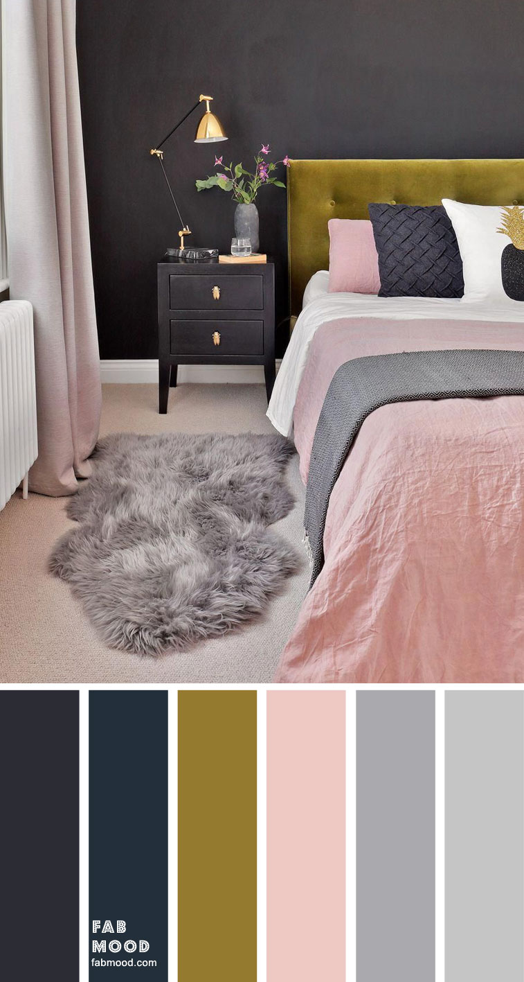 Charcoal bedroom with pink accents