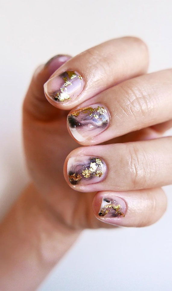 Nail Art Designs You'll Want to Wear : Marble and Gold Foil Nails