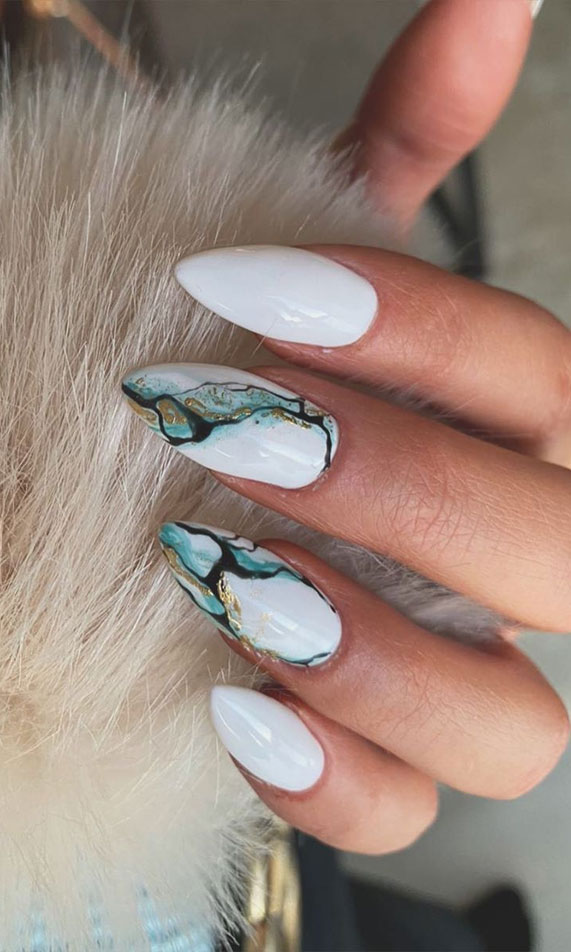 Nail Art Designs You'll Want to Wear : Marble and White Nails