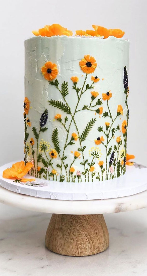 floral buttercream painted cake, pretty cake , birthday cake, 2nd birthday cake ideas, ombre birthday cake, birthday cake for girl