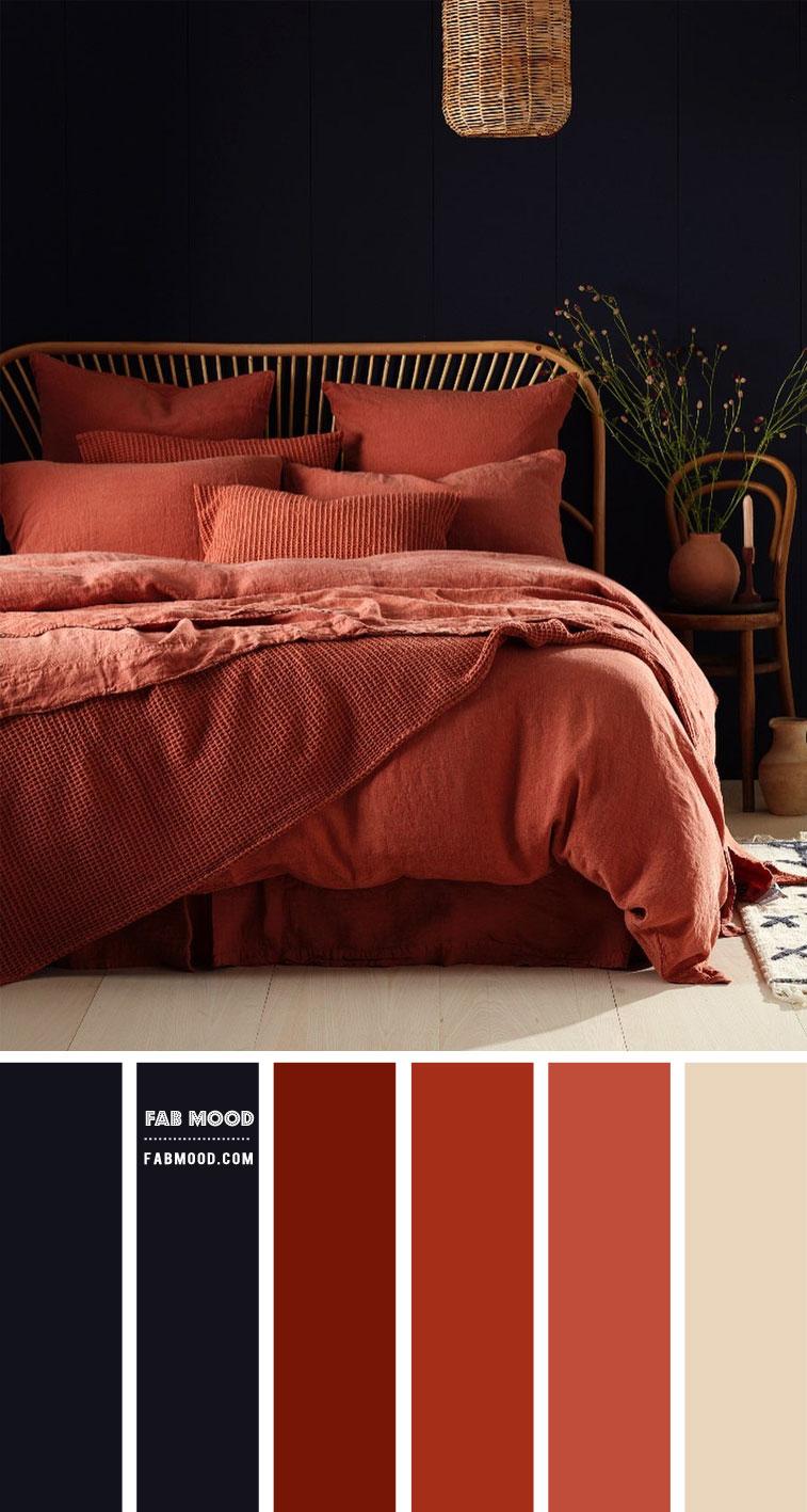 blackberry and terracotta bedroom, dark blue and dark terracotta bedroom, burnt sienna bedroom #bedroomcolor #terracottabedroom earth tone bedroom color ideas