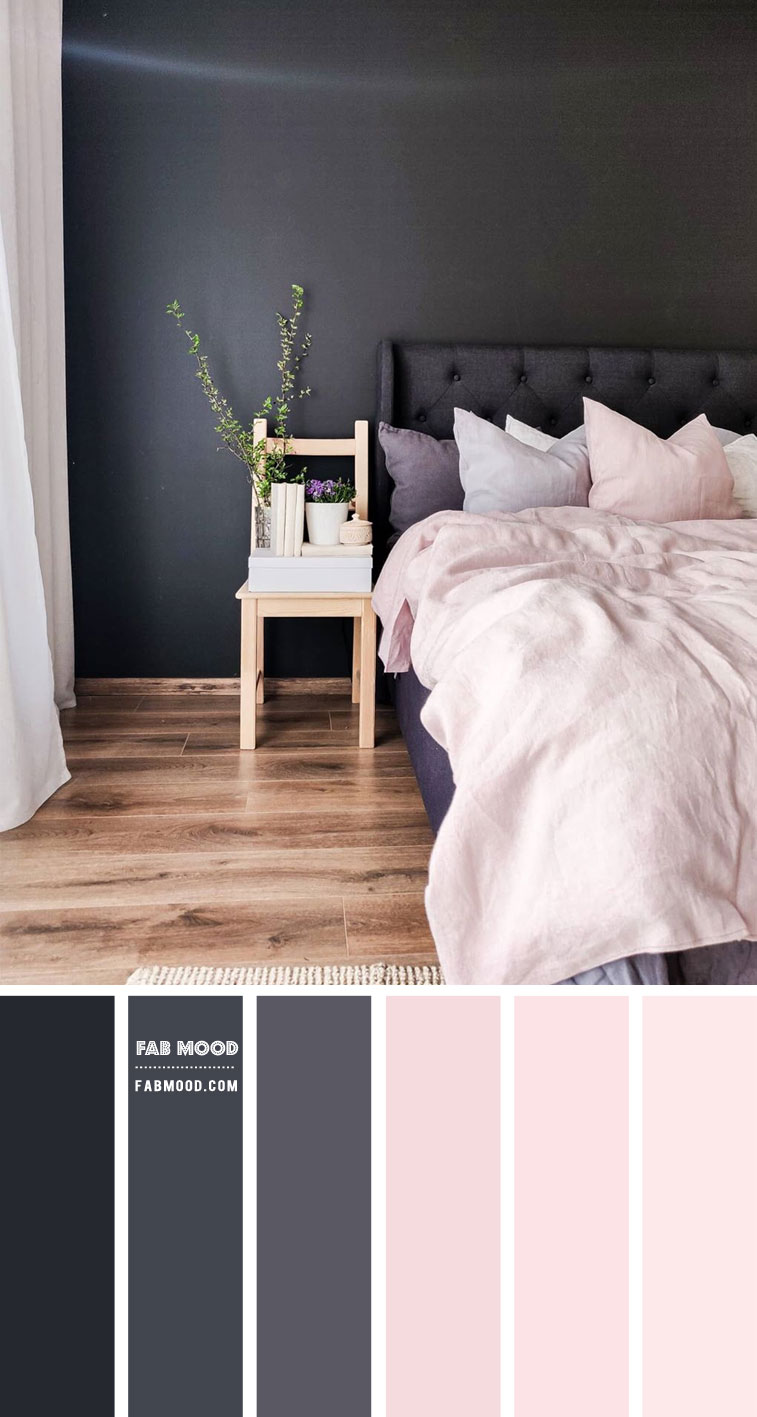 charcoal and blush bedroom, charcoal and pink blush color schemes , blush and charcoal color combos , black and blush color combos