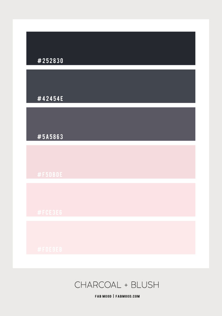 blush and charcoal color combos, blush and charcoal color schemes, color combos, color schemes, blush and black color #color
