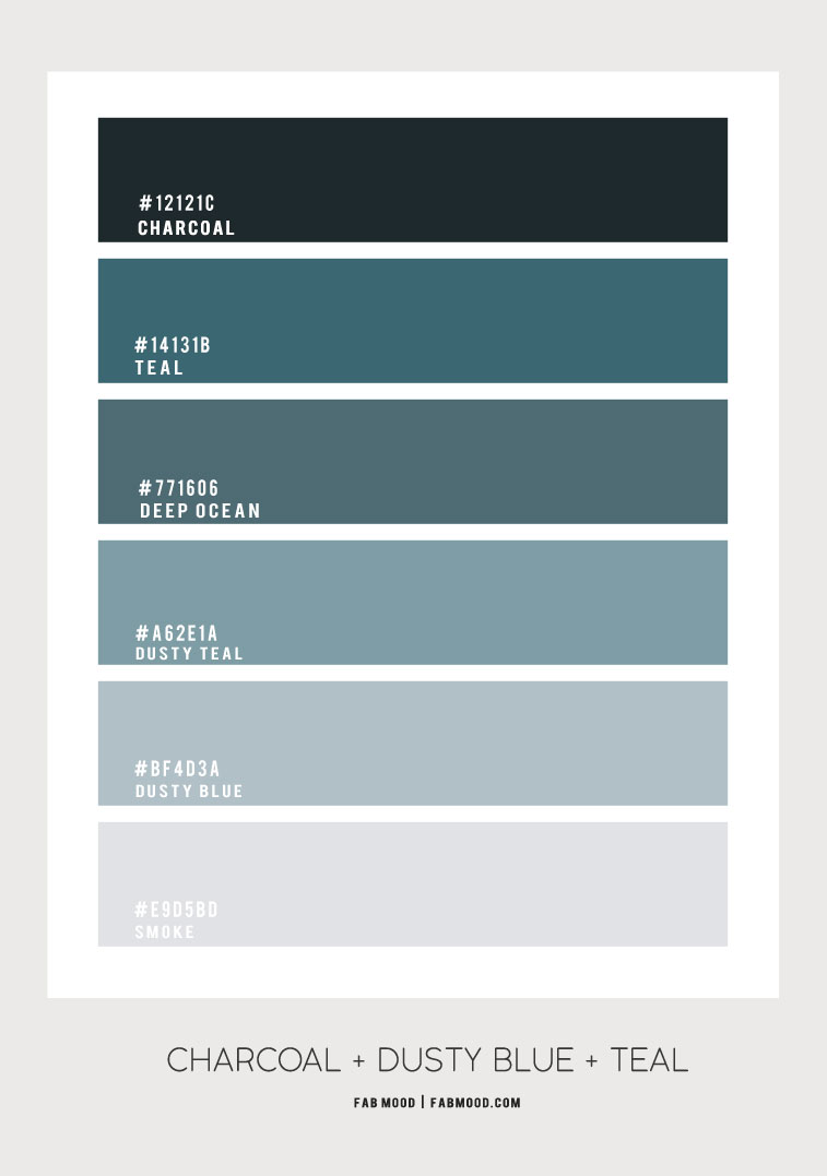 charcoal teal color combos, teal dusty blue color combos, dusty blue color combos, dusty teal color schemes , charcoal and dusty blue