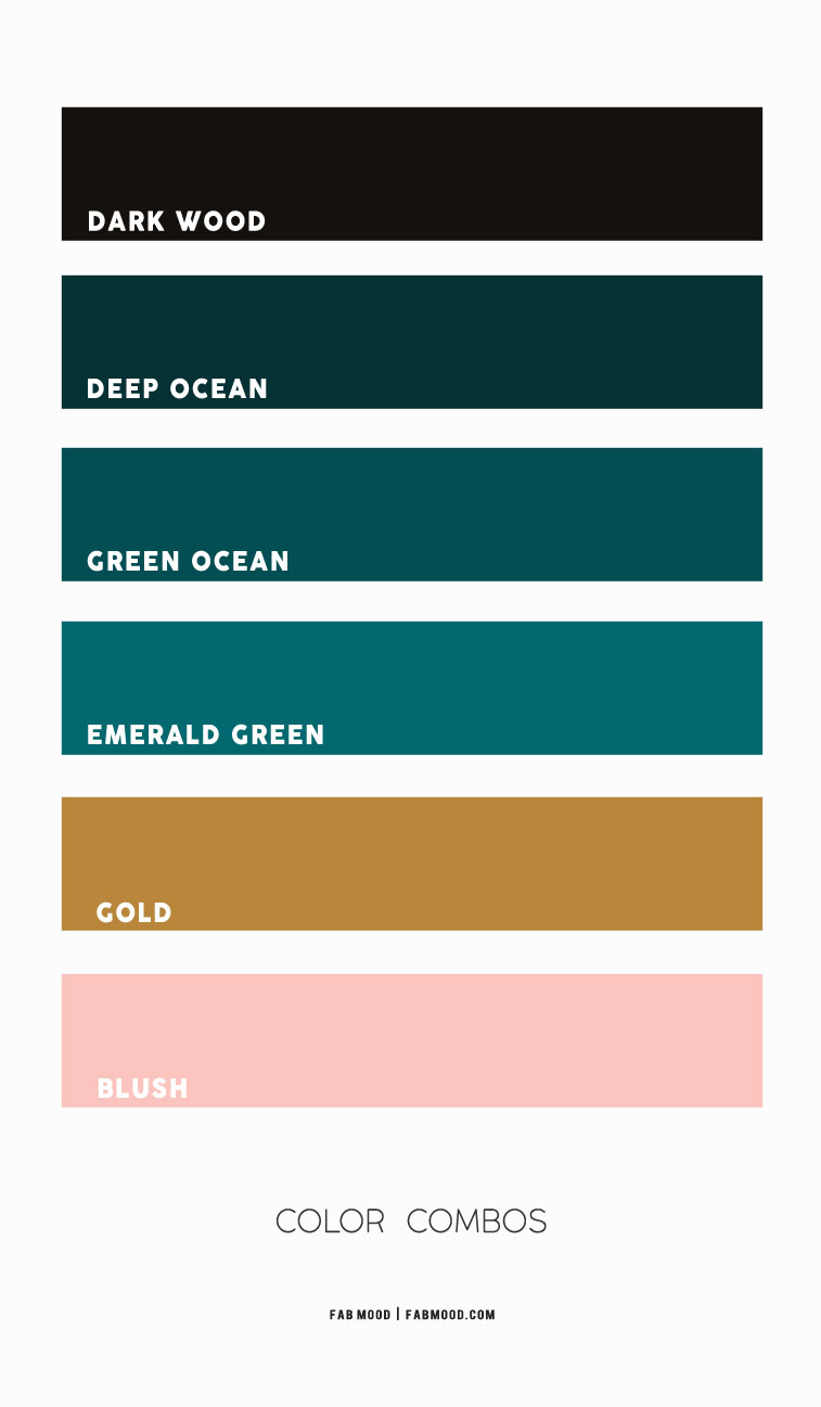 emerald and pink color schemes, pink and green ocean color combos, green color combos, ocean green color combos, blush pink color combos