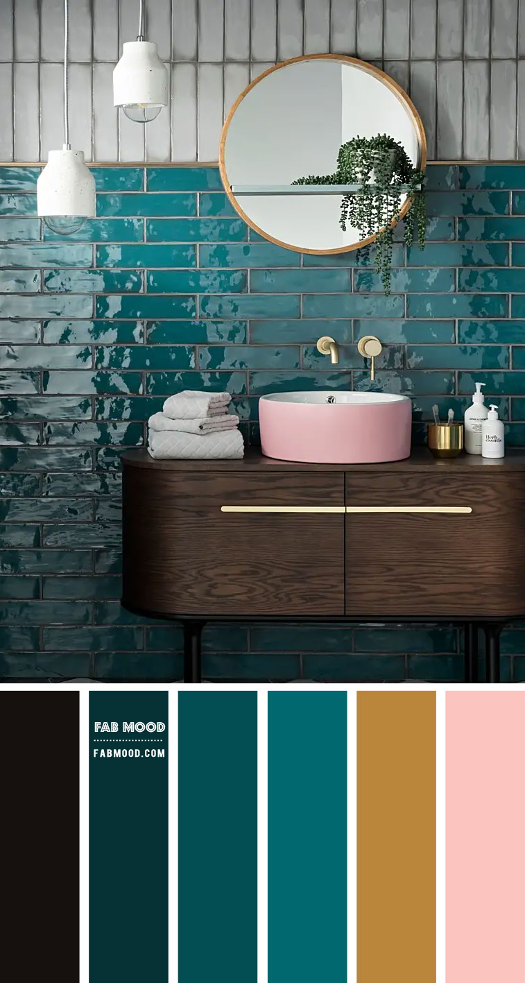 Emerald Green and Pink Color Scheme for Bathroom