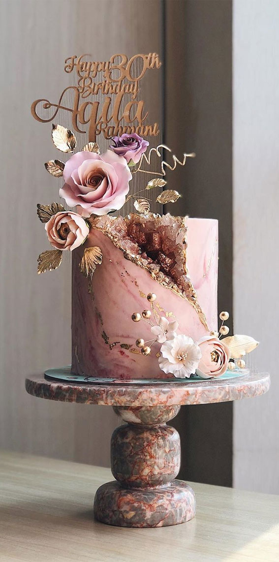 45 The Most Creative Wedding Cake Designs Pink And Gold Geode Cake