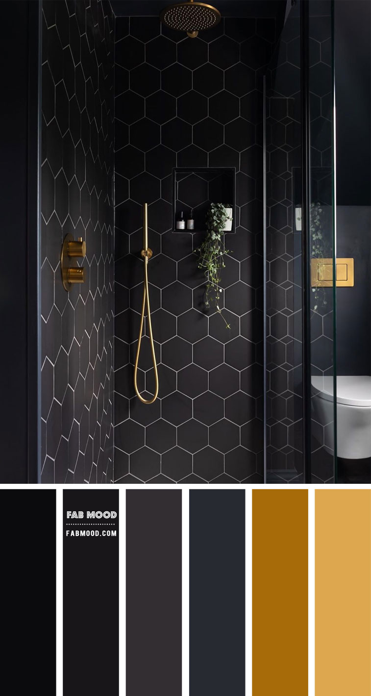 Black and gold color scheme for bathroom