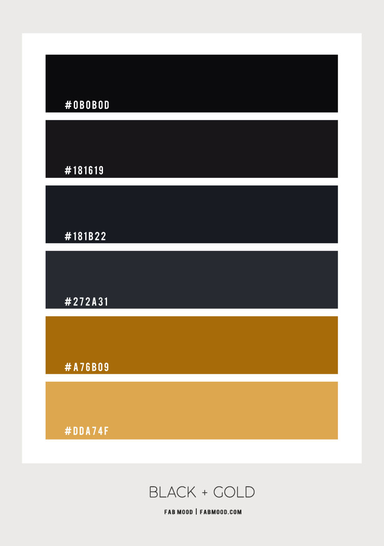 black and gold color scheme, black and gold color combo, black and gold color palette, charcoal and gold color scheme