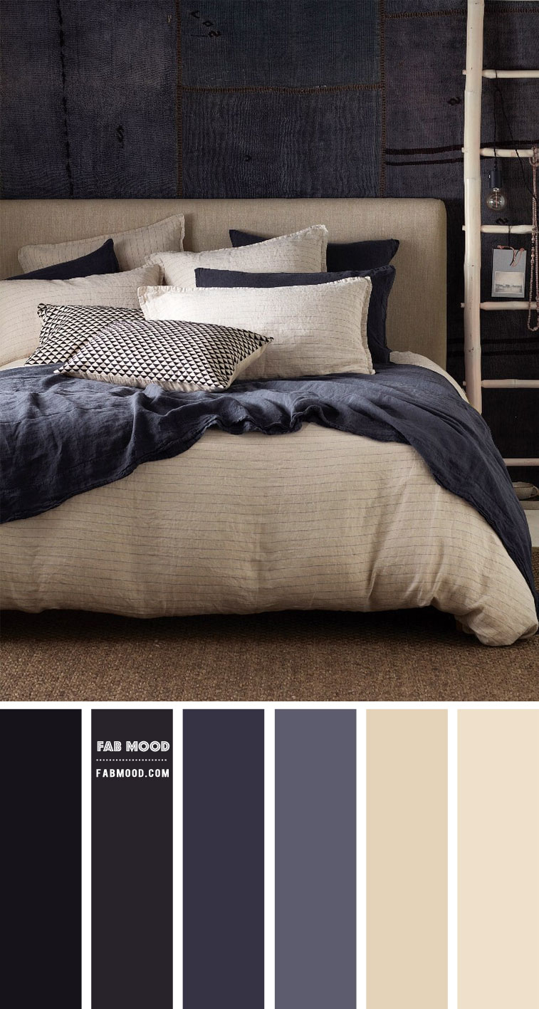dark blue and grey bedroom, grey and blue color for bedroom, bedroom color, charcoal bedroom