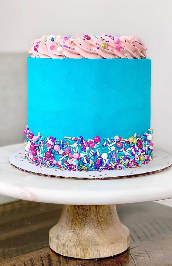 blue cake, cake ideas, cake designs, birthday cake, cake inspiration, cake trends 2020 , sprinkle cake #cakedesign #cakeideas