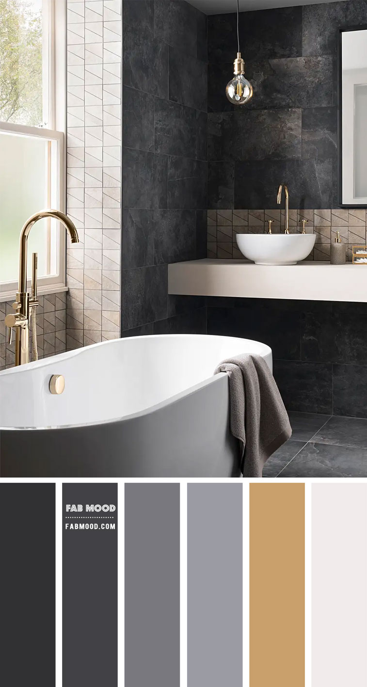 Charcoal , Gold and White Bathroom