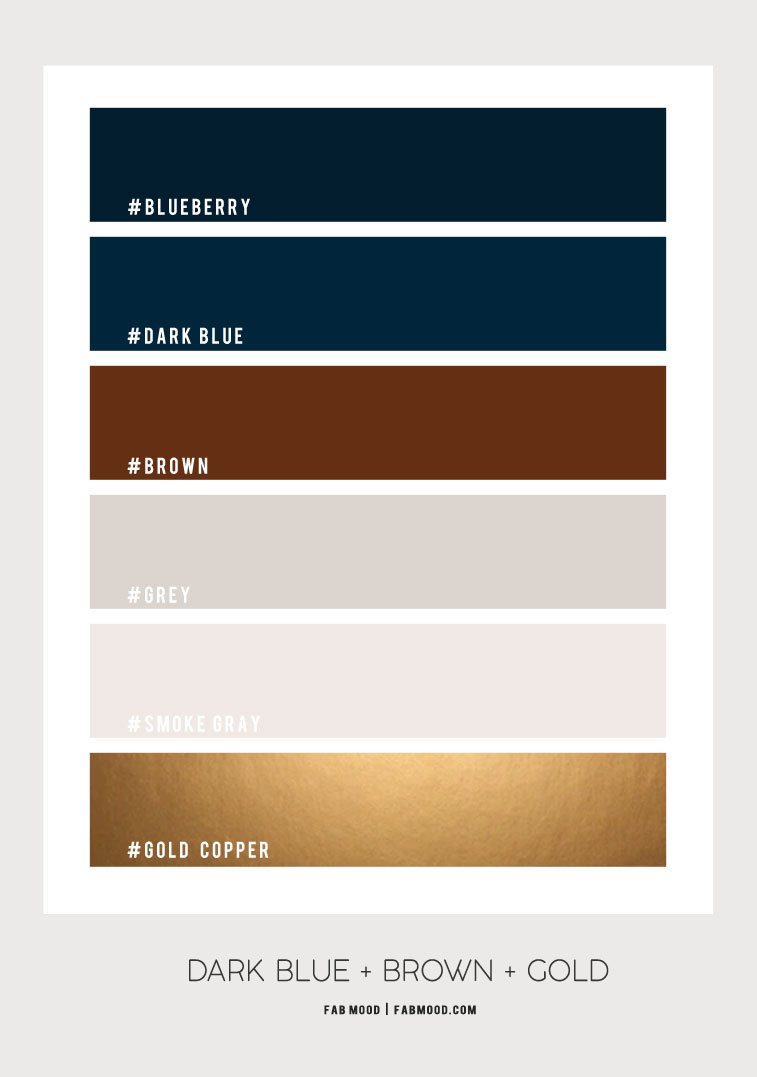 dark blue brown and gold color palette, navy blue brown and grey color scheme, brown dark blue and grey color palette