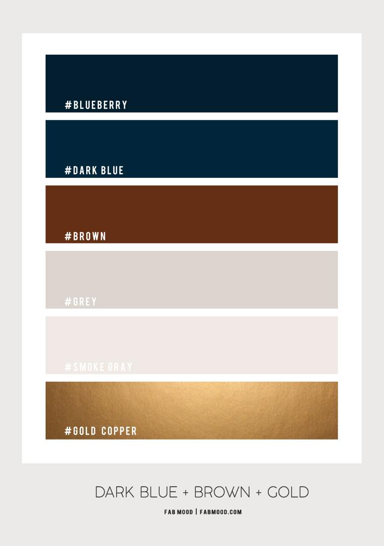 Dark Blue Brown And Gold Bathroom Color