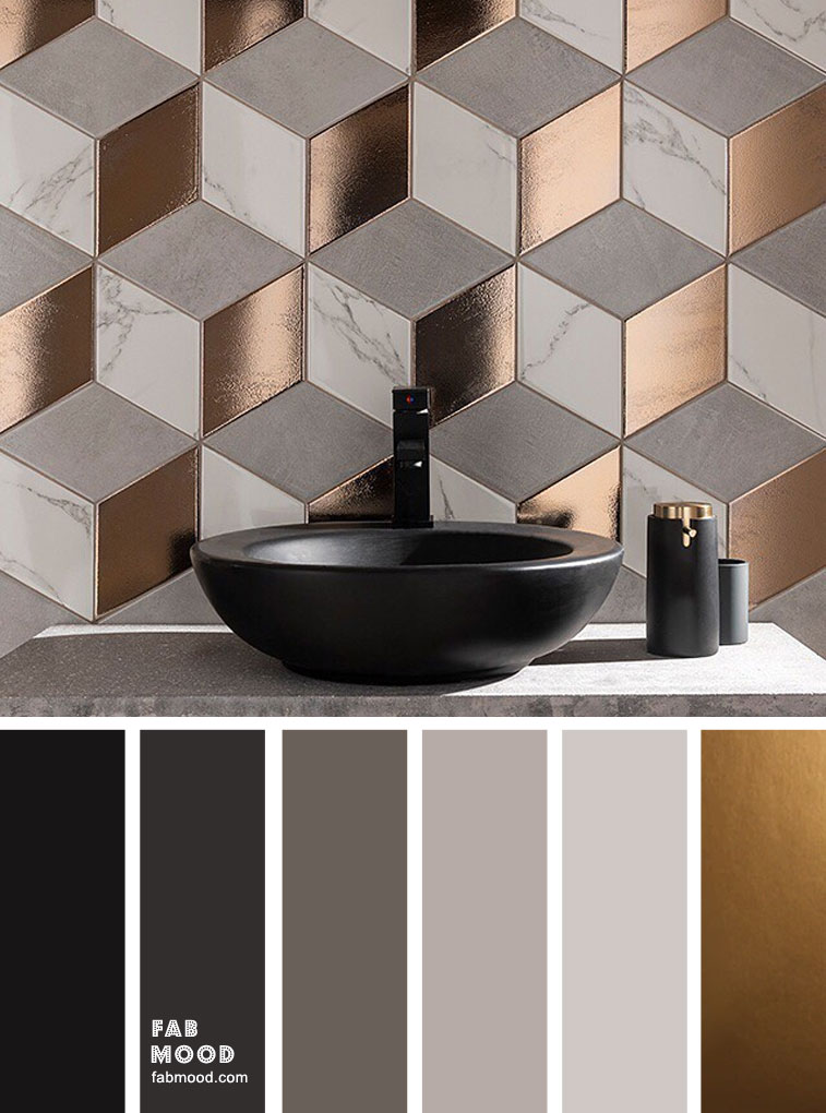 Black copper and grey bathroom color ideas
