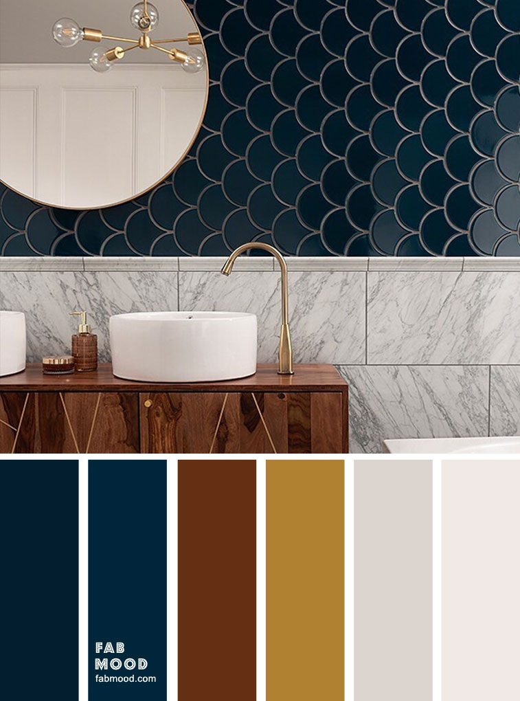Dark blue , brown and gold bathroom color