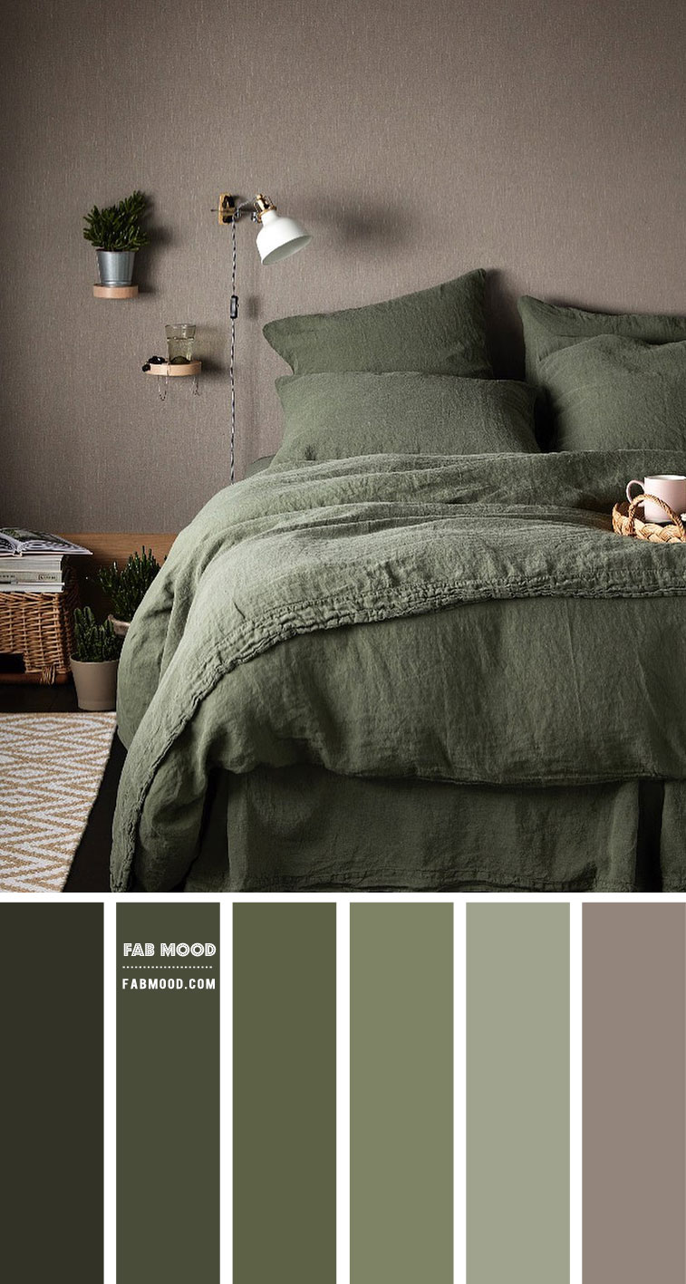Olive green bedroom color scheme