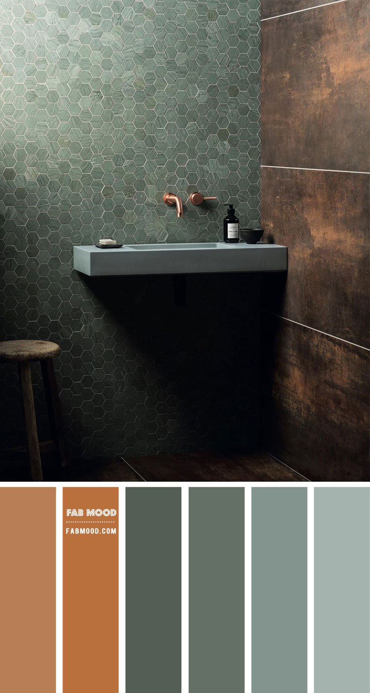 earthy tone color palette, bathroom color ideas, green and copper color combination, green and copper color scheme