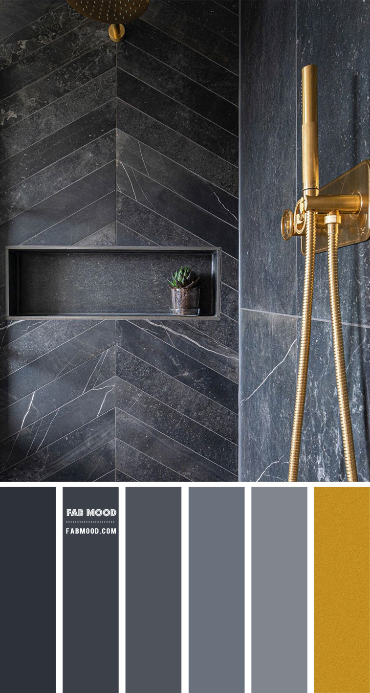 Grey and Gold Color Palette for Bathroom