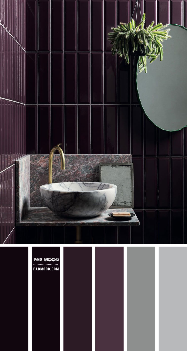 Grey and Purple Color Scheme for Bathroom