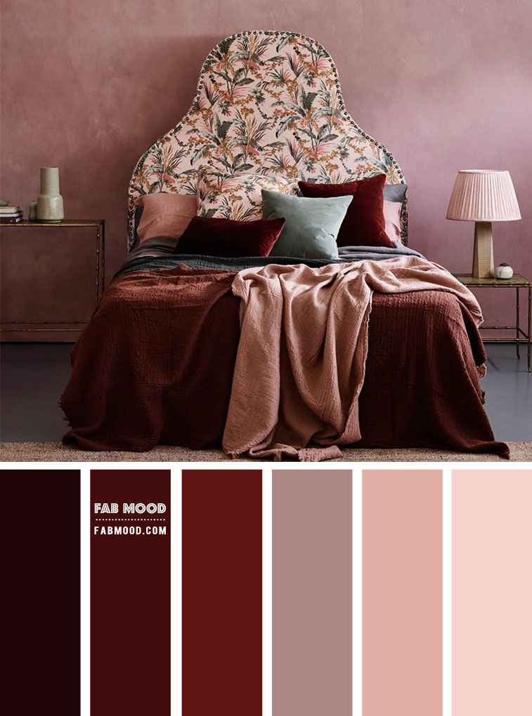 Mauve and Red Wine Color Scheme For Bedroom