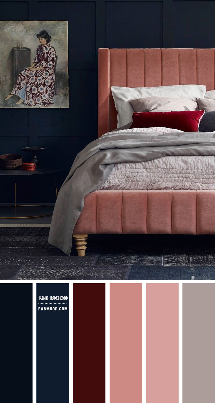 navy blue and pink color scheme, dark blue and mauve pink bedroom, dark blue bedroom, pink and dark blue bedroom , bedroom color ideas, navy blue and pink bedroom