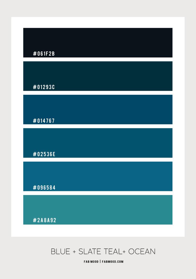 slate teal color scheme, blue teal color scheme, blue teal color palette, color combination, slate teal