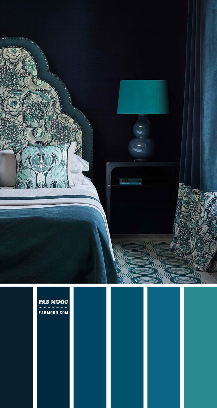 Deep Blue Ocean And Slate Teal Bedroom Color