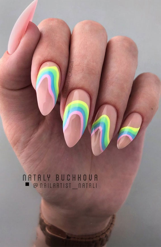 rainbow on pink nail colors, nail designs, summer nails, nail art ideas, rainbow nail designs, nail art designs 2020, summer nails 2020